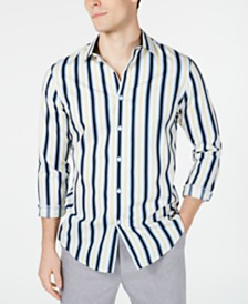 I.N.C. Men's Elliot Striped Button-Down Shirt, Created for Macy's