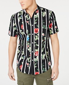 I.N.C. Men's Gregory Floral Stripe Camp Shirt, Created for Macy's
