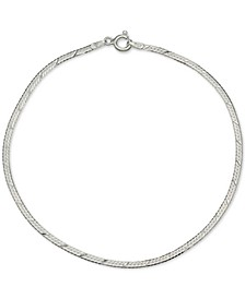 Textured Herringbone Ankle Bracelet in Sterling Silver, Created for Macy's