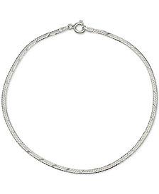 Giani Bernini Textured Herringbone Ankle Bracelet in Sterling Silver, Created for Macy's