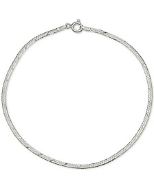 Giani Bernini Textured Herringbone Ankle Bracelet in Sterling Silver, Created for Macy's
