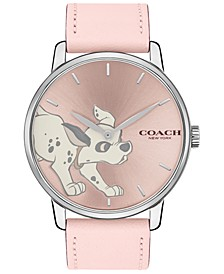 Disney x Women's 101 Dalmatians Grand Pink Leather Strap Watch 40mm