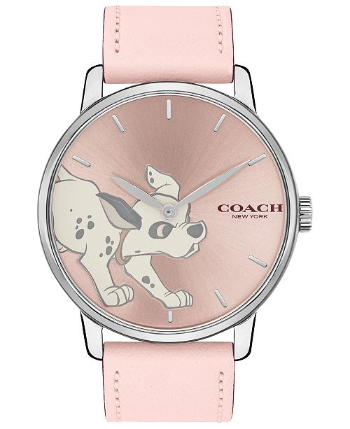 COACH Disney x Women's 101 Dalmatians Grand Pink Leather Strap Watch 40mm