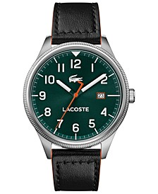 Men's Continental Black Leather Strap Watch 43mm