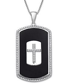 "Men's Onyx & Diamond (1/3 ct. t.w.) Cross 22"" Pendant Necklace in Sterling Silver"