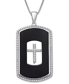 """Men's Onyx & Diamond (1/3 ct. t.w.) Cross 22"""" Pendant Necklace in Sterling Silver"""