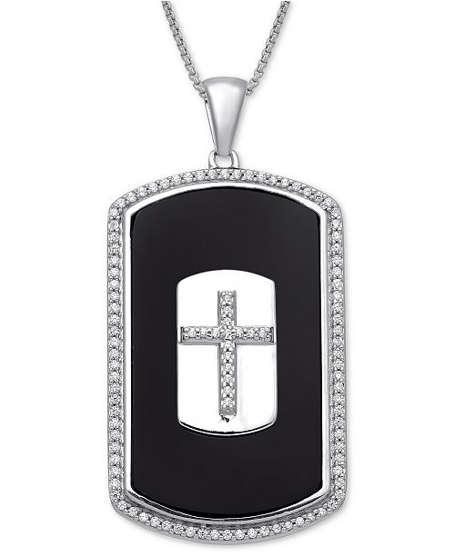 Macy S Men S Onyx Diamond 1 3 Ct T W Cross 22 Pendant Necklace In Sterling Silver Reviews Necklaces Jewelry Watches Macy S