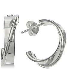 Giani Bernini Crossover Hoop Earrings in Sterling Silver, Created for Macy's