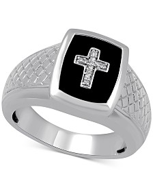 Men's Onyx & Diamond Accent Cross Ring in Sterling Silver