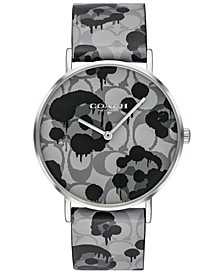 Women's Perry Gray Printed Leather Strap Watch 36mm, Created For Macy's
