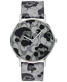 COACH Women's Perry Gray Printed Leather Strap Watch 36mm, Created For Macy's