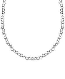 "Giani Bernini Heart Link 18"" Chain Necklace in Sterling Silver, Created for Macy's"