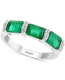 EFFY® Emerald (1-5/8 ct. t.w.) & Diamond (1/10 ct. t.w.) Ring in 14k White Gold