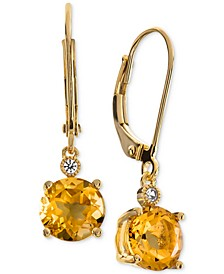 Citrine (2-1/5 ct. t.w.) & Diamond Accent Drop Earrings in 14k Rose Gold (Also Available In Blue Topaz, Mystic Quartz, Amethyst, & Garnet)