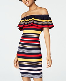Crave Fame Juniors' Ruffled Off-The-Shoulder Bodycon Dress
