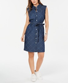 Tommy Hilfiger Sleeveless Cotton Button-Front Shirtdress