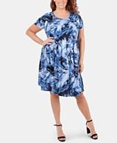 a9e7edb0cc NY Collection Plus Size Printed Pleated Dress