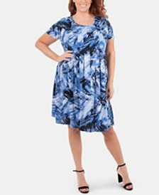NY Collection Plus Size Printed Pleated Dress
