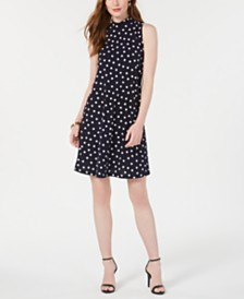 Robbie Bee Petite Polka-Dot A-Line Dress