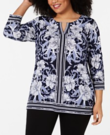 JM Collection Plus Size Printed Keyhole Tunic, Created for Macy's