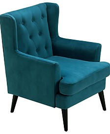 Elle Décor Celeste Tufted Velvet Accent Chair, Quick Ship