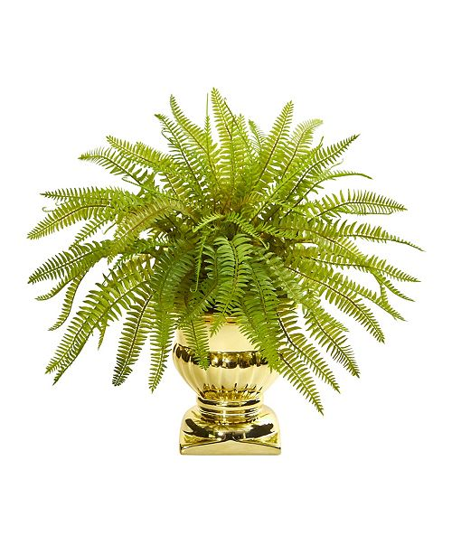 """Nearly Natural 20"""" Fern Artificial Plant in Gold Urn"""