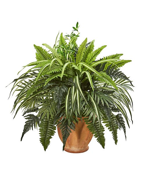 "Nearly Natural 23"" Mixed Greens and Fern Artificial Plant in Terra Cotta Planter"