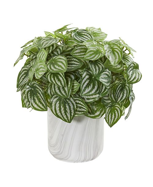 Nearly Natural Peperomia Artificial Plant in Marble Finished Vase (Real Touch)