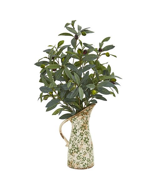 """Nearly Natural 23"""" Olive Artificial Plant in Vase in Floral Pitcher"""