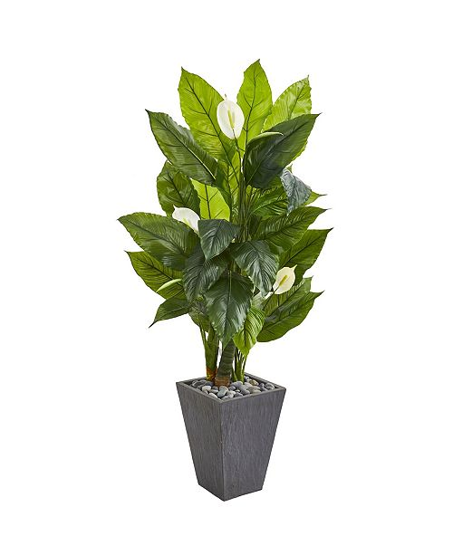 "Nearly Natural 63"" Spathiphyllum Artificial Plant in Slate Planter (Real Touch)"
