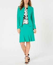 Nine West Kiss-Front Jacket, Printed Top & Flare Skirt