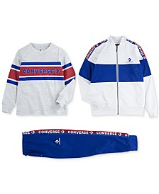 Converse Big Boys Colorblocked Track Jacket, Logo Stripe T-Shirt & Two-Tone Track Jogger Pants