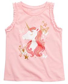 Toddler Girls Ruffled Unicorn-Print Tank Top, Created for Macy's