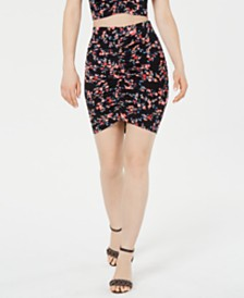GUESS Eara Ruched Printed Mini Skirt