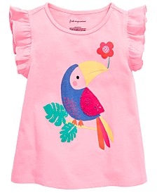 First Impressions Baby Girls Parrot Graphic Flutter Top, Created for Macy's