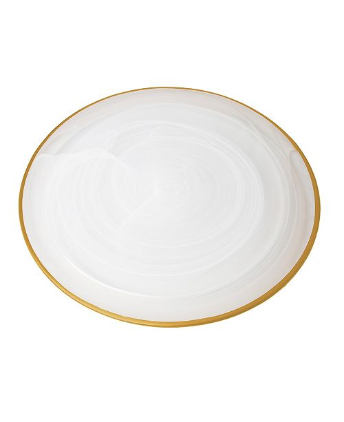"""Classic Touch Set of 4 Alabaster 12.75"""" Chargers with Rim"""
