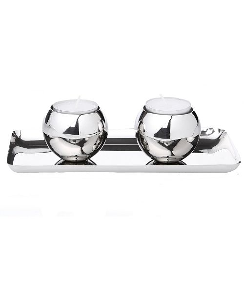 Classic Touch Set of 2 Stainless Steel Tea Candle Holders on Tray