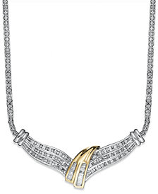 Diamond Twist Necklace in Sterling Silver and Gold (1/2 ct. t.w.)