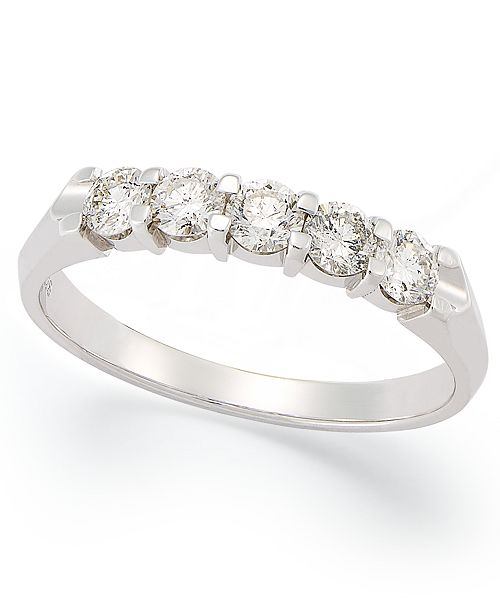 Macy's Certified Five-Stone Diamond Anniversary Band Ring in 14k White Gold (1/2 ct. t.w.)