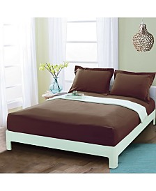 Elegant Comfort Silky Soft Single Fitted Set Queen Brown