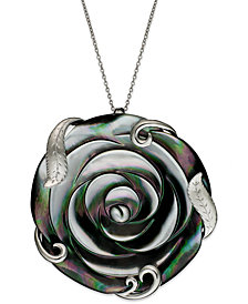 Sterling Silver Necklace, Cultured Tahitian Mother of Pearl Flower Pendant (50mm)