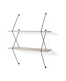 Danya B. Contemporary Two Level Shelving System with Black Wire Brackets