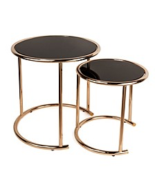 Set of 2 Nested Round End Tables with Black Glass-top and Rose Gold