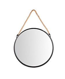 "20"" Decorative Round Metal Circle Wall Mirror with Hanging Rope"