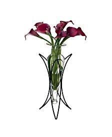 Danya B. Clear Amphora Vase on Half Moon Metal Stand