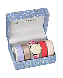 Laura Ashley Gold Slidethrough Interchangeable Sleek Dial Floral Straps Set Watch