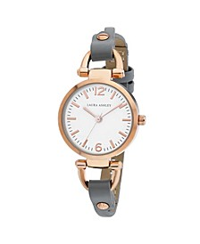 Ladies' Logoed White Dial With Analog Display Twisted Rose Gold Band Round Watch