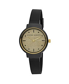 Spray Black Mesh Powered Glitz Dial Watch