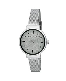 Spray Silver Mesh Powered Glitz Dial Watch