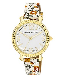 Women's White Floral Band Fluted Bezel Watch